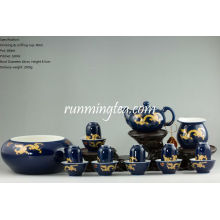 Golden Dragon Teaware Set, 6 Pairs of Drinking & Sniffing Cups+ Teapot+Pitcher+ Gongfu Tea Bowl(in a gift package)