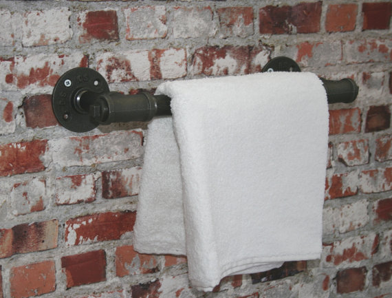 Towel and curtain holder assembled by pipe fittings
