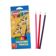 12pcs enfants couleur crayon dessin crayons de couleur en bois naturel