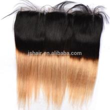 two tone 1b#27 colour straight virgin brazilian hair cheap human hair lace closure with baby hair