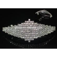 Barrette hermoso barato del cristal del brillo de Headwear de las muchachas de Hairgrip del Rhinestone