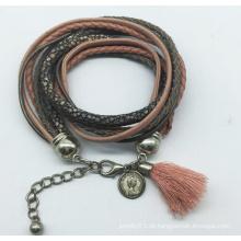 Echtes Leder 5 Rollen Glasperlen Tissue Armband (XBL13558)