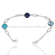 Bracelet en argent sterling 925 en perles fines semi-précieuses naturelles