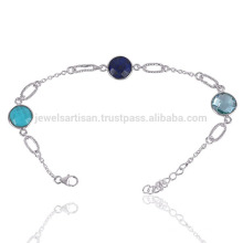 Natural Semiprecious Multi Gemstone 925 Sterling Silver Bracelet