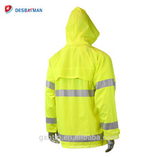 Custom 100% Waterproof Durable Security Raincoat Hooded With Vented Cape Back,Hook And Loop Adjustable Cuffs