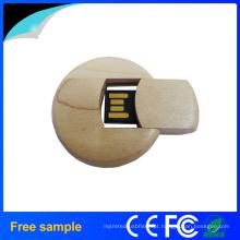 Cartão de madeira natural do círculo UDP USB Stick
