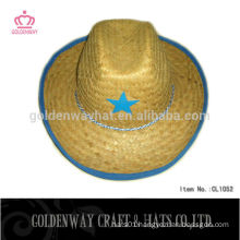 Children's cute straw cowboy hat with star