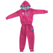 China Fábrica OEM Girl Fleece Esporte Ternos no Desgaste Do Esporte Crianças Hoody Designswg-105