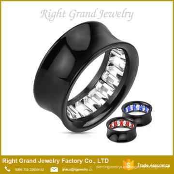 PVD negro plateado doble flare túneles Ear Plugs Earlets Gauges