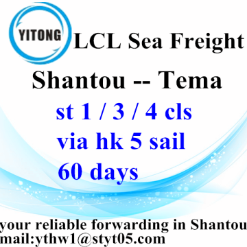 Shantou LCL Shipping International Cargo naar Tema