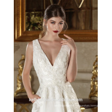 ZM16025 Ankle-Length Oem Design Deep V-neck Wedding Dress Patterns Low Cut Sheer Back Crystals Appliques Sexy Lace Satin Gown