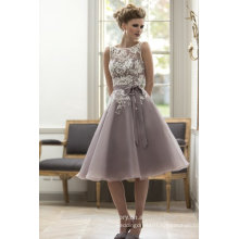 Wholesale Good Quality New Cheap white Lace And Purple Organza formal Short A Line Beach Bridesmaid Dress LB36