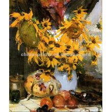 Flor clássica da pintura a óleo da vida ainda na lona