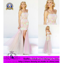 2014 Inspired Stunning Pink Appliques Lace Satin Organza Prom Dresses Mermaid Modern
