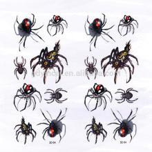 Etiqueta 3D personalizada da tatuagem da inserção da Aranha-forma para a decoração no Dia das Bruxas