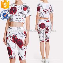 Rose Print Crop Hoodie Tee mit Leggings Herstellung Großhandel Mode Frauen Bekleidung (TA4060SS)