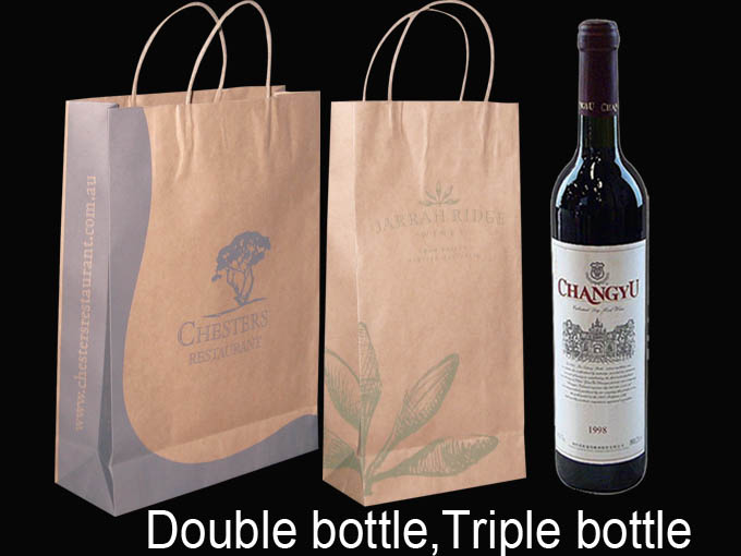 Color Double Paper Wine Bag