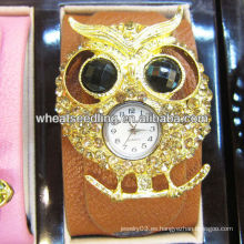 2013 nuevos relojes exagerados del brazalete de Digitaces del cuero genuino del diseño del buho de la llegada para el regalo WW54