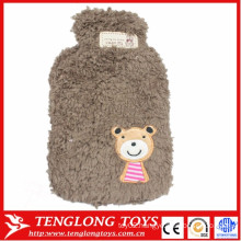 Hot sale 750ml soft plush lovely fleece hot water bottle cover plush animals hot water bottle cover