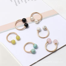 Natural Round Black Agate Turquoise Pearl Beads Ring Young Girl Double Stone Open Ring