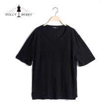 Neues modisches Plus Size Stylish Black Casual Kurzarm-Damenhemd