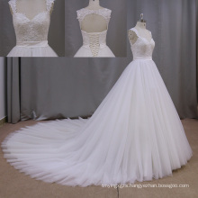 Long Train A Line Sweetheart Tiered Lace Wedidng Gown