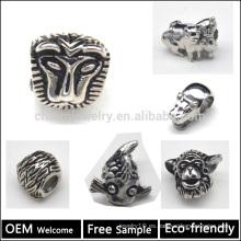 Ever Fade & AAA + Estilo europeo de calidad de acero inoxidable de granos perlas de animales europeos Brazalete de cuentas y encantos BXGZ001