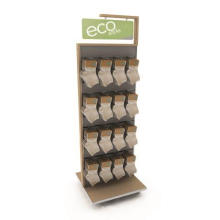 Praktisch bewegliche Holz-Slatwall-Boden-Standing Metal Hooks Doppelseitige Hanging Sock Rack Display