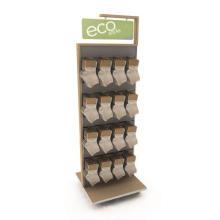 Prático Móvel móvel Slatwall Pavimento em pé Ganchos em metal Duplo Sided Suspensão Sock Rack Display