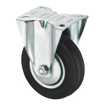 Middle Duty Series Caster - Rigid - Black Industrial Rubber (roller bearing)