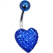 10mm bleu Sparkler coeur Belly Ring