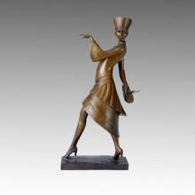 Танцовщица Бронзовая скульптура мода Madam Deco Латунная статуя TPE-318