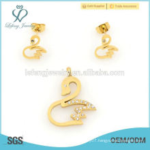 Top selling cute swan yellow gold sets jewelry wholesale 2015