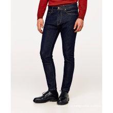 Хлопок стрейч мужские классические базовые мода тонкий Fit камень стирка синий деним Жан