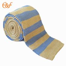 Cravates à rayures bleues en soie tricotées pour hommes en gros