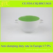 China Hersteller Supply Keramik Schüssel mit doppelten Griffen