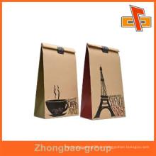 Guangzhou Lieferanten hochwertigen Heißsiegel Feuchtigkeitsbeständige Papier Material Kaffeebeutel mit Kaffee-Design für Bohnen Verpackung
