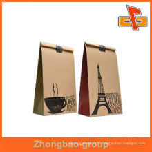 Guangzhou supplier high quality heat seal moisture proof paper material coffee bag with coffee design for beans packaging