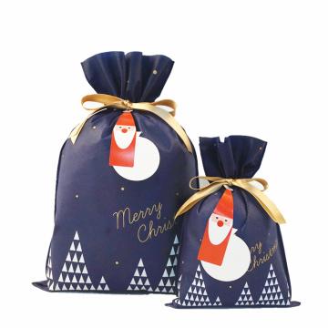 Navy Christmas Gift Bag Custom Logo Shopping Bags