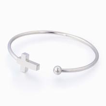 Bracelet simple de bijoux de mode de femme Machine inoxidable découpée au laser de croix