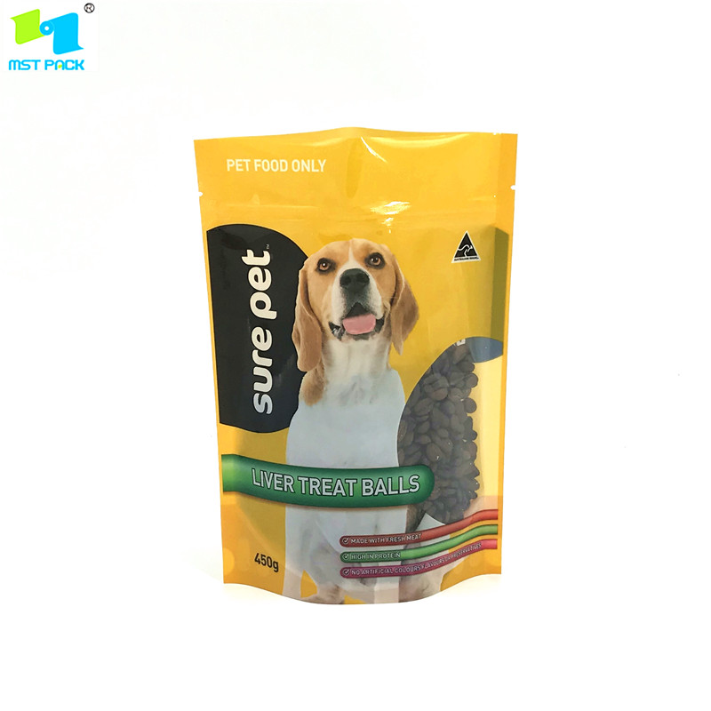 Disesuaikan Dicetak Pet Food Stand up Ziplock Bag