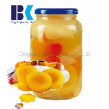 Introduzindo o vidro novo conservado pêssego amarelo