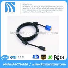 MACHO del ORO de HDMI al varón VGA HD-15 Cable 6FT 1.8M 1080P Azul HDMI-VGA MM