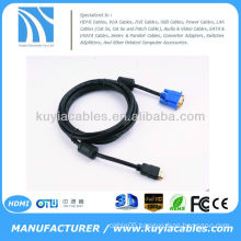 HDMI GOLD MALE TO VGA HD-15 MALE Cable 6FT 1.8M 1080P Blue HDMI-VGA M-M
