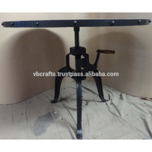 Crank Table Round Wooden Top Metal Edge