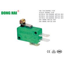 Micro interruptor de alavanca de rolo de dobradiça de metal curto