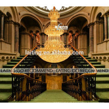 Fünf Sterne Hotel Dekoration Luxus Goldene Hohe Decke Chandleier Kristallkugel Anhänger Beleuchtung
