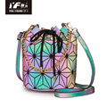 Luminous reflective leather bucket bag crossbody bag
