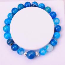 Semi Precious Stone 8MM Round Beads Blue Agate Bracelet