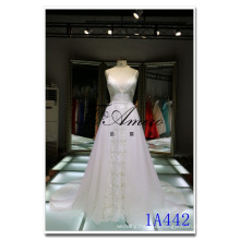 Spaghetti Strip Deep V-neck Wedding Dresses with Detachable Train